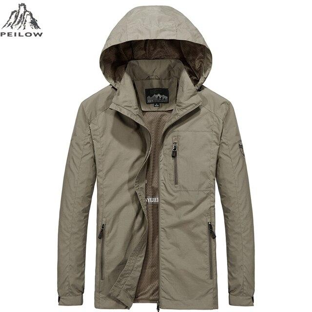 PEILOW Новые Большие размеры M ~ 6XL Демисезонный Для мужчин s Повседневное военные куртка с капюшоном Для мужчин Водонепроницаемый одежда Для мужчин ветровка пальто мужские