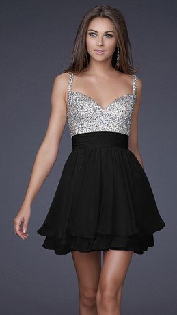 f951850a86 Vestidos De Fiesta Cortos blanco negro gasa azul vestido De noche ...