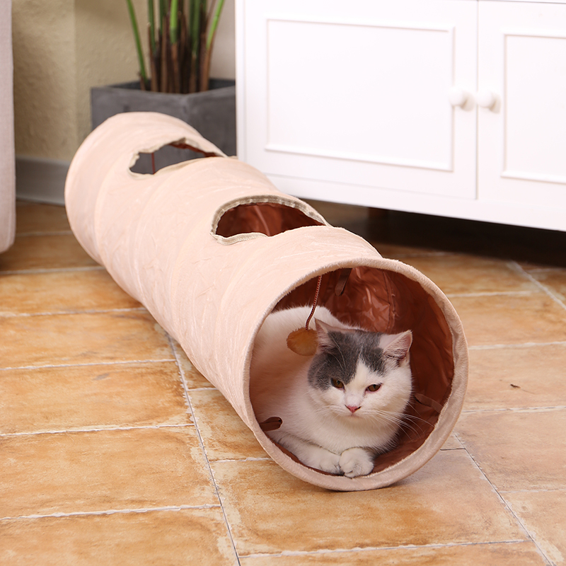 Pet Cat Toys Big Long Cat Tunnel with Ball Foldable Suede Material Funny Cat Toys 120cm Dia 25cm Kitten Play 2 Hole Pet Supplies image