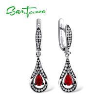 SANTUZZA, серебряные серьги для женщин, 925 пробы, серебряные висячие серьги, длинные серебряные 925 с красным кубическим цирконием, ювелирные изделия