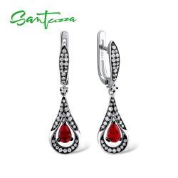 Santuzza brincos de prata para mulher 925 prata esterlina balançar brincos de prata longa 925 com vermelho zircônia cúbica brincos jóias