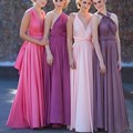 vestidos de fiesta largos elegantes With Different Style vestidos New A-Line V-Neck Chiffon Floor Length Long Bridesmaid Dress