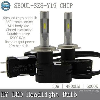 OCSION T5 Turbo LED Headlight Bulb H7 6000K 30w 4800lm Auto Headlamp Automotive Fog Light Kit H1 H3 H4 H11 HB3 HB4 9012 D1S D2S Фара