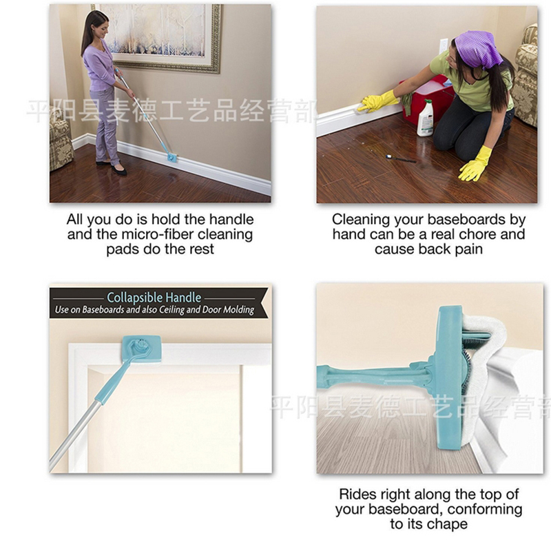Minimalist New Baseboard Buddy Scalable Microfiber cleaning stick cleaning brush Cleaning Mop Blue Plastic handle Aluminum Cleaning Tools in Cleaning Brushes from Home Modern - Model Of baseboard Amazing