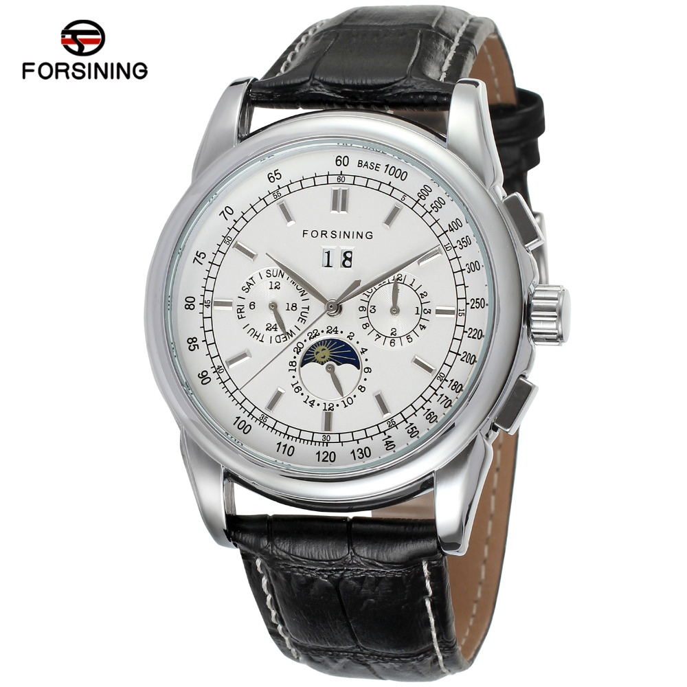 FORSINING Men's Watch Multi-Function Automatic Moon Phase Black Genuine Leather Strap dress Wristwatch Silver Color FSG319M3S5 ultra luxury 2 3 5 modes german motor watch winder white color wooden black pu leater inside automatic watch winder