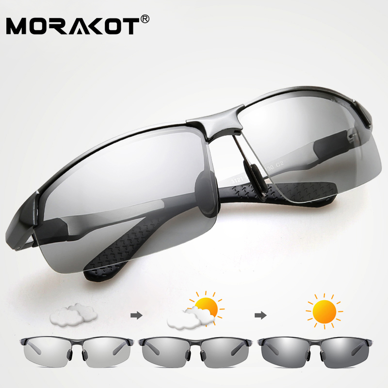 db0a12826c8 MORAKOT Photochromic Sunglasses Men Polarized Discoloration Sunglasses  Driving Glasses Anti-reflective Eyewear UV400 P003121