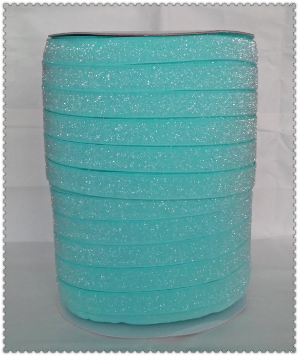 50yards lot Non stretch 1 5 Frosted Aqua Glitter Ribbon