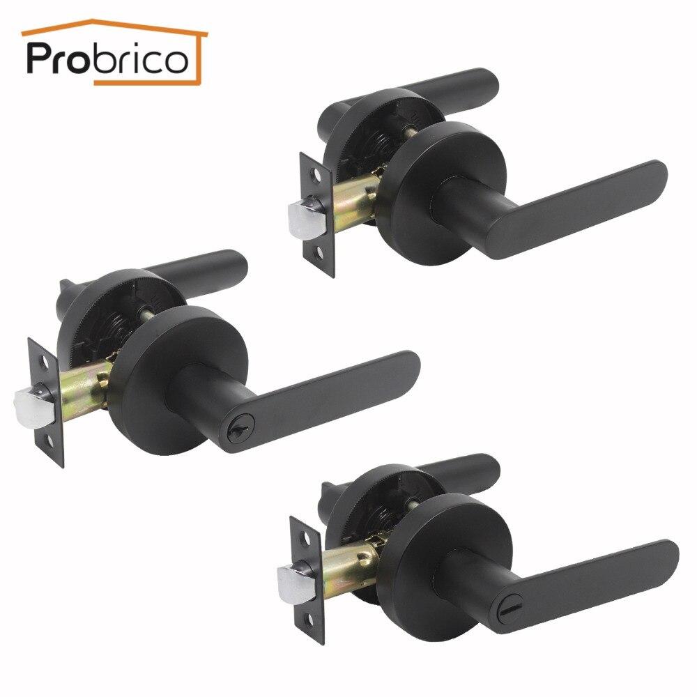 Serrure de porte en bois Probrico noire à clé serrure d'entrée et serrure de Passage sans clé levier de confidentialité quincaillerie de porte intérieure et extérieure