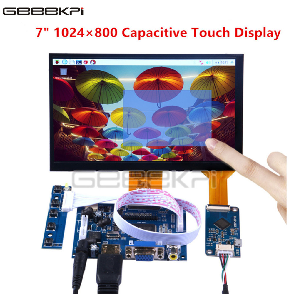 GeeekPi Newest 7 Inch 1024*600 Display Capacitive Touch Screen Monitor For Raspberry Pi 4B And All Platform PC Beagle Bone Black