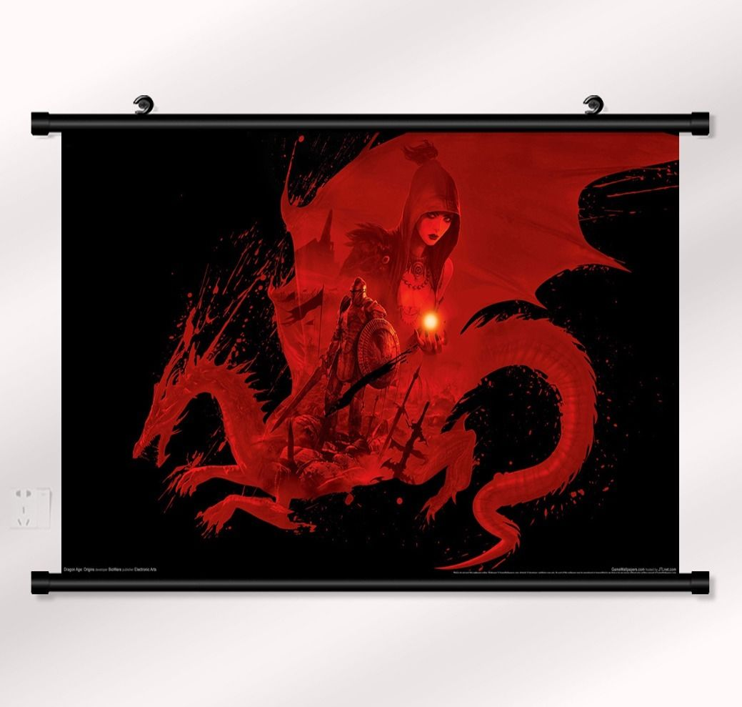 "Dragon age <font><b>1</b></font> <font><b>2</b></font> Game Fabric poster with wall scroll <font><b>22</b></font>"" <font><b>x</b></font> <font><b>16</b></font>"" Decor 06"