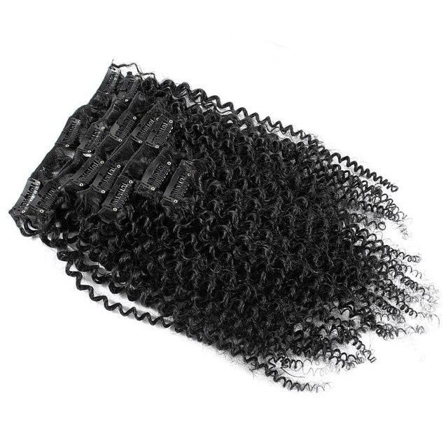 Mongolia Afro Rizado Rizado Clip ins Head Set Completo Clip en Extensiones Del Pelo Humano Para Las Mujeres Negras del Afroamericano 100g-160g