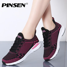 PINSEN New Fashion Women Sneakers Flats Shoes Breathable Mesh Lace-up Basket Femme Trainers Shoes Woman moccasins Big Size 35-46