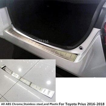 Superior Para Toyota Prius 2016 2017 2018 Car Externo detector de Choque Traseiro tronco Proteger guarnição de Aço Inoxidável pedal placa etiqueta