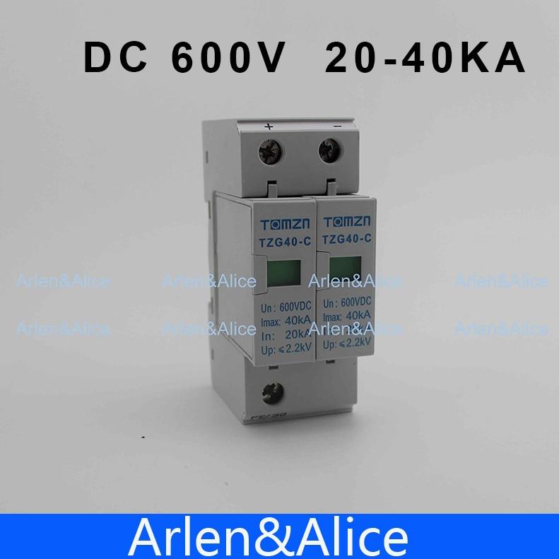 SPD DC 600V 20KA~40KA House Surge Protector Protective Low-voltage Arrester Device