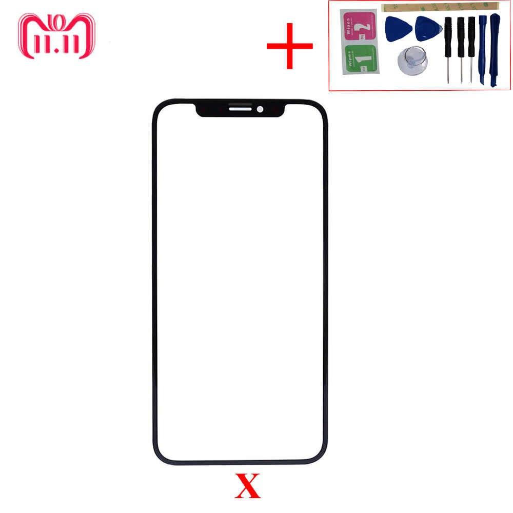 10 шт./партия, переднее стекло для экрана с рамкой, передняя рамка для клея OCA, лист для iPhone X, запасные части, передняя крышка для объектива Ekran