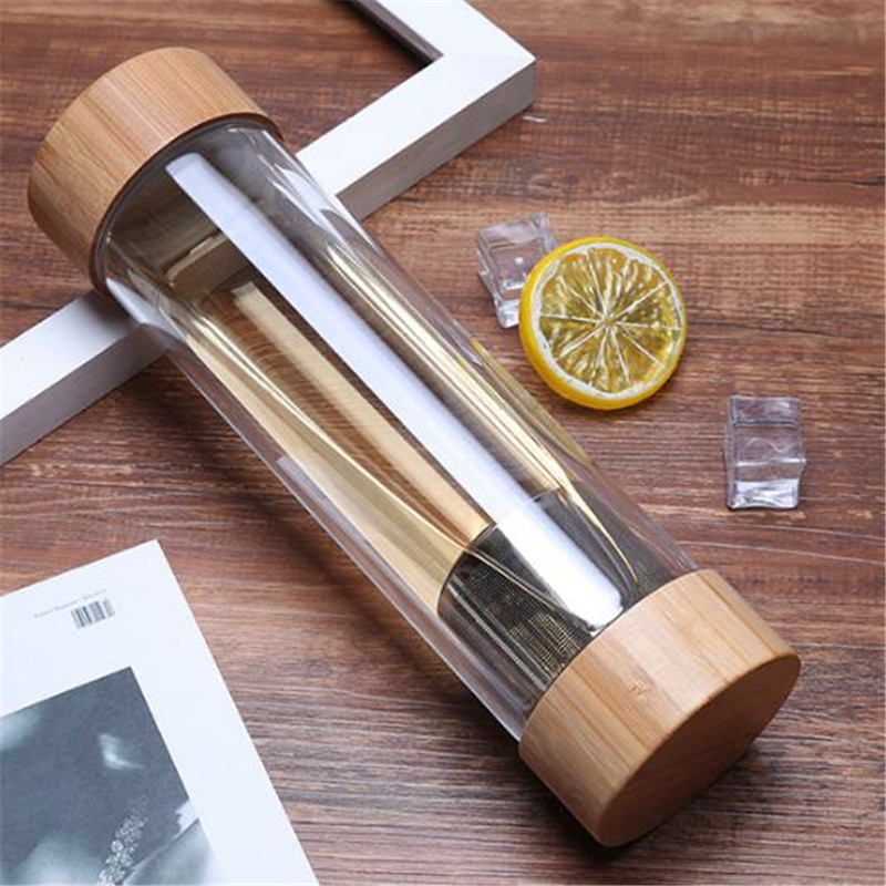 Image 4 - 300ml 400ml Travel Glass Water Bottle with Stainless Steel Tea Infuser Filter Double Wall Glass Sport Water Tumbler Bamboo LidWater Bottles   -