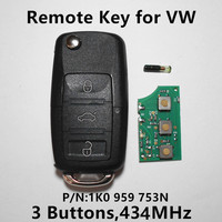 P N 1K0 959 753N Remote Key For VW Volkswagen GOLF PASSAT Tiguan Polo Jetta