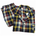 Pajamas Men Autumn 100% Woven Cotton Pajama Long Sleeve Pyjamas Plaid Cardigan Pajama Sets Men Lounge Sleep Pajamas