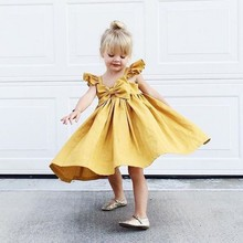 dd107c81d9b69 Dresses For Girls Baby Clothes Newborn Baby Girls Dress Summer Bow Cotton  Princess Birthday Wedding Baby