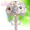 Handmade Artificial Flower Wedding Bouquets White Wedding Flowers Bridal Crystal Brooch Bouquets With Pearl Ramos De Novia