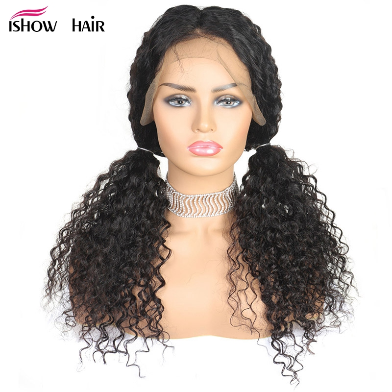 Ishow 4X4 Curly Human Hair Wig For Black Women 250 Density Brazilian Remy Wig Pre Plucked