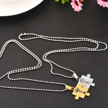 1set Neckalces With Jigsaw Pattern Pendant Carved Crowns Stainless Steel Love Necklaces Jewelry For Couples