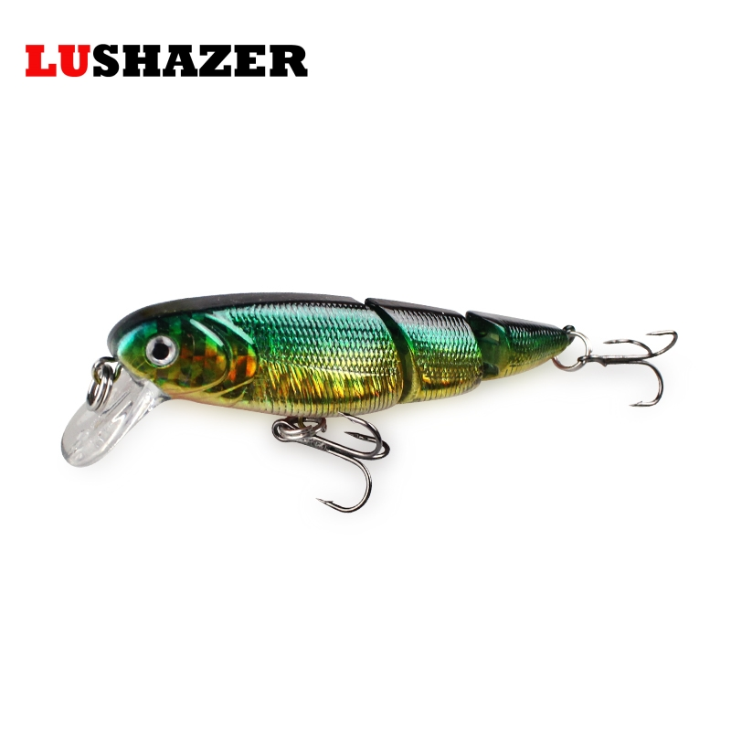 LUSHAZER Minnow fishing lure three section 85mm 9.5g lures isca artificial crank bait fishing wobblers fish tackles accessories 1pc 5 5cm 13g frog lure fishing lures treble hooks top water ray frog artificial minnow crank strong artificial soft bait