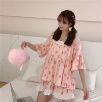 Summer Women Girl Sweet Print Loose Lace Pajamas Sets Mori Girl Lolita Kawaii Seep Set Princess Sleepwear Homewear