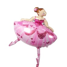 New 1 PC. 110 * 80 cm shiny ballerina dancer ballet shoes for girls balloons happy birthday accessories supplies