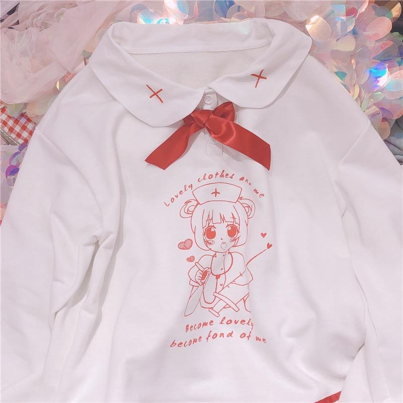 Cute Cartoon Girls Nurse Rrint Women Hoodies Teen Mori Girl Student Pullover Spring Hooded Sweatshirt Sweet White Kawaii
