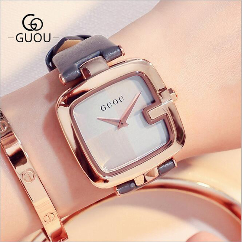 Women Watches GUOU Creative Square Watch Women Fashion Genuine Leather Quartz Ladies Watch saat erkek kol saati relogio feminino guou 2018 new quartz women watches luxury brand fashion square dial wristwatch ladies genuine leather watch relogio feminino