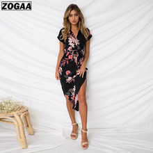 ZOGAA Women Floral Print Beach Dress Fashion Boho Summer Dresses Ladies Vintage Bandage Bodycon Party Vestidos Plus Size