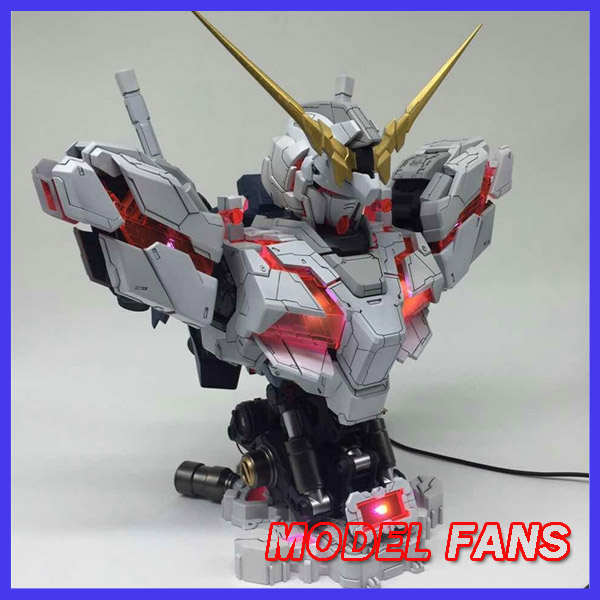 MODEL FANS INSTOCK YIHUI model assembly Gundam unicorn bust model 1:35 contain led light action figure toy cmt instock dragon momoko 1 60 pg unicorn gundam rx 0