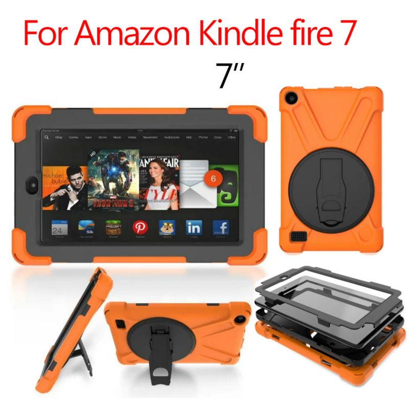 For Amazon kindle fire 7 Tablet Cover Heavy Duty Fundas Shockproof Armor Hydrid Case Full Body Protective Shell Stand Skin+Gift simple wool felt sleeve case cover for amazon kindle paperwhite2 kindle 499 for amazon kindle voyage 6inch tablet bag s4b05d