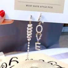 FYUAN Long Tassel Pearl Asymmetry Earrings for Women New Love Rhinestone Drop Earring Statement Jewelry Gifts цена