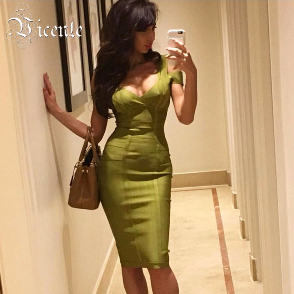 Free Shipping! 2018 New Chic Deep Vneck Off the Shoulder Multi Straps Women Wholesale Celebrity Party Bandage Dress