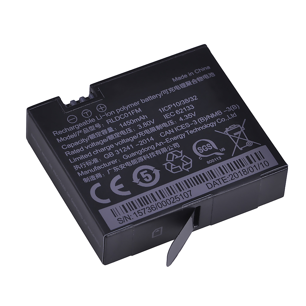 1Pc 3.80V 1450mAh Original Mijia 4k Battery For Xiao Mi Mi Jia Action Mini Camera Battery