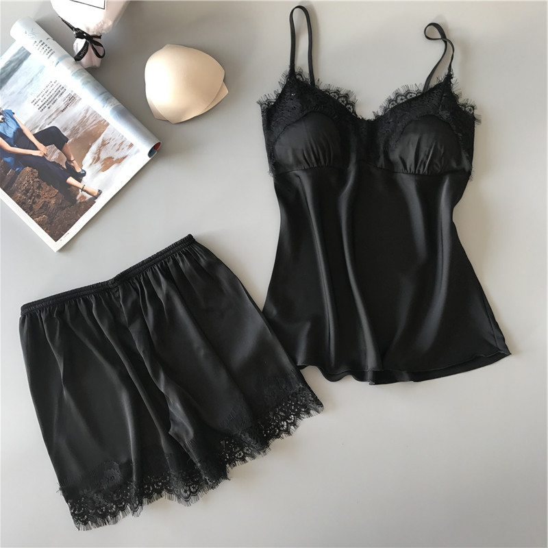 Women Bodysuit Lingerie Set Underwear Lace Vest Top Shorts Satin Nightwear Suit