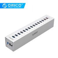 ORICO A3H13P2 SV Aluminum 13 Ports Multi USB3.0 HUB Splitter with 2 Charging Ports 5V2.4A Super Charger / 5V1A Universal Silver