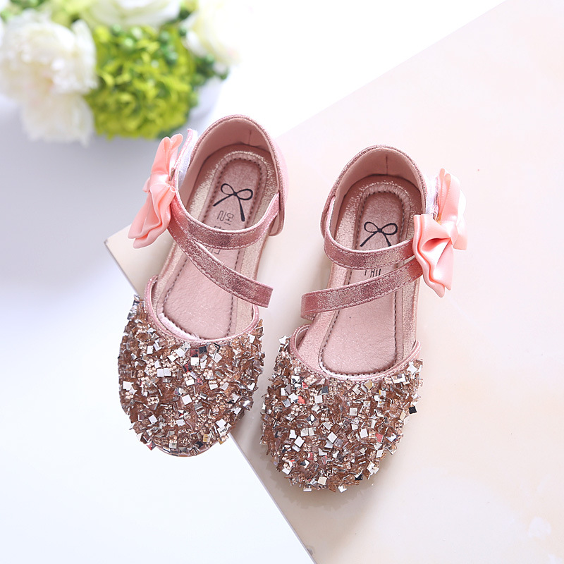 2018 Children Princess Glitter Sandals Kids Girls Soft Shoes Square Low-heeled Dress Par ...