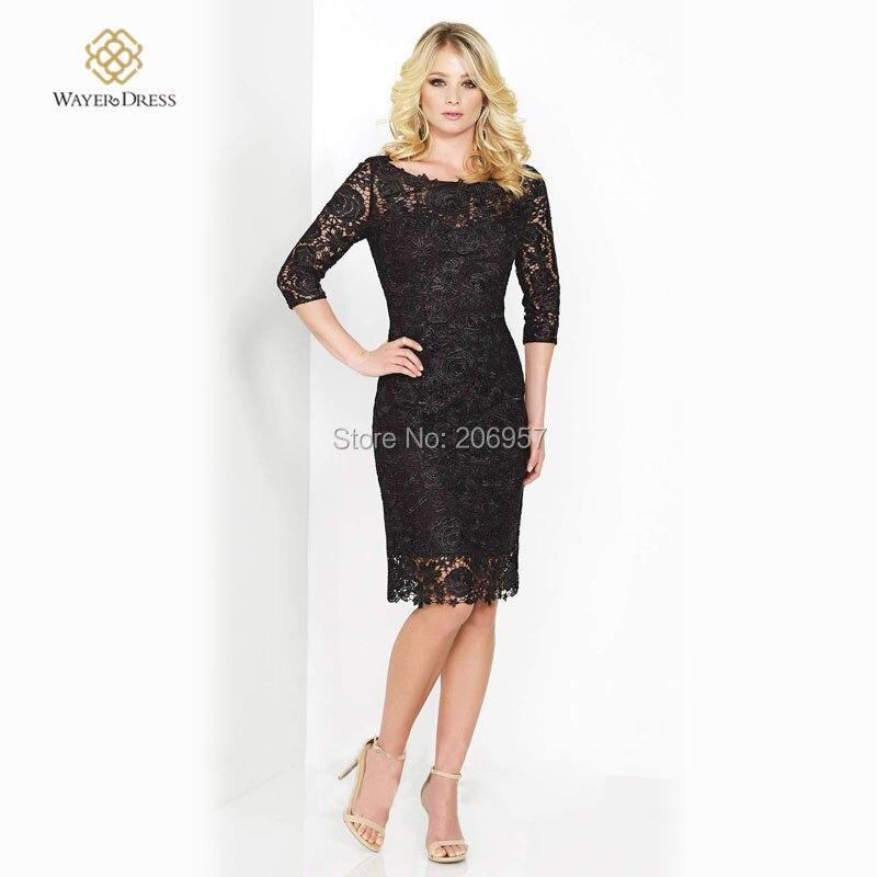 f19d8f6f2 Elegante 3 4 Manga Apliques de Encaje Negro Corto Vestidos de Noche vestido  de renda Ocasión Especial vestido de festa curto 2015 en Vestidos de noche  de ...