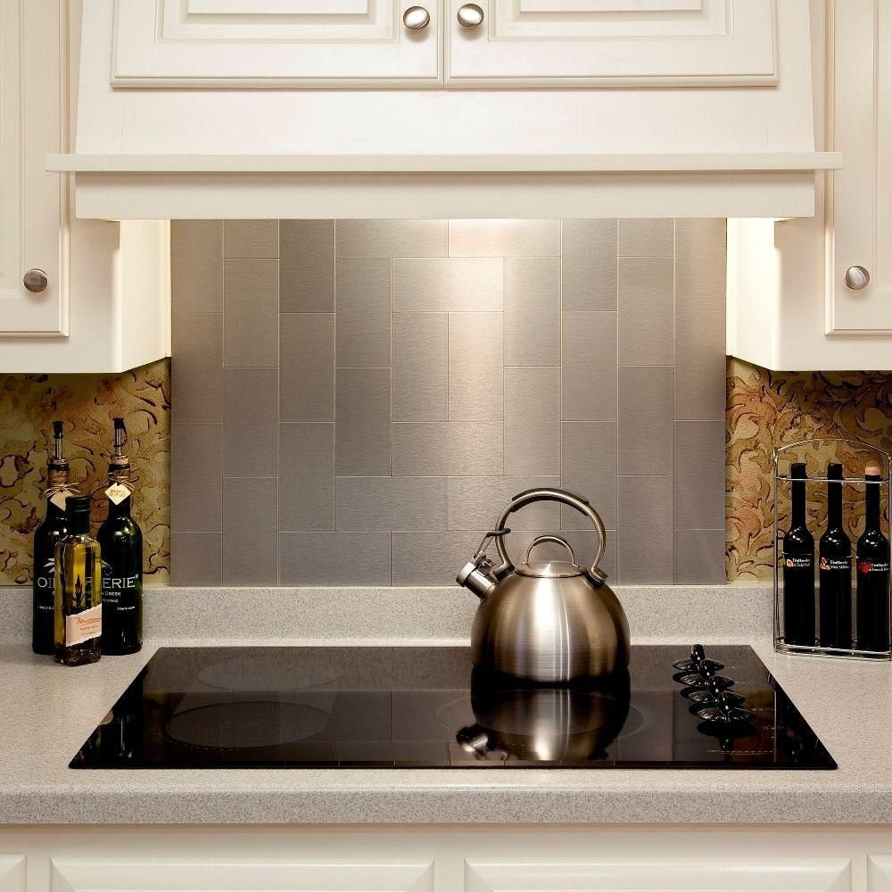Peel and Stick Stainless Steel Backsplash Tiles 3\'\' x 6\'\' Brushed ...