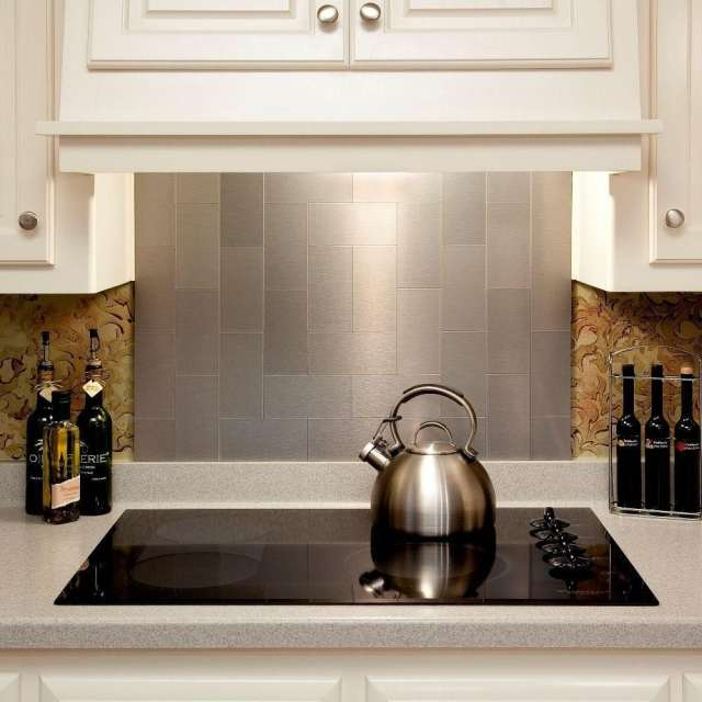 Online Shop Peel And Stick Stainless Steel Backsplash Tiles 3 X 6