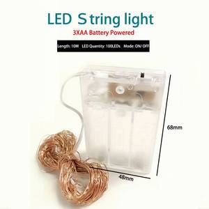 Led-String-Lights Battery Silver-Wire-Garland Party-Decoration Powered Christmas Wedding