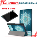 Case for Lenovo Tab3 8 Plus P8 TB-8703 TB-8703F 8 inch Tablet stand Ultra slim PU Leather Protective Case + free 3 gifts