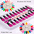 High Quality Hot Sale 20 Colors Nail Art Soak Off Nail Gel Polish + Primer Base Top Coat +Ceal Coat Set UV Gel Tips Set