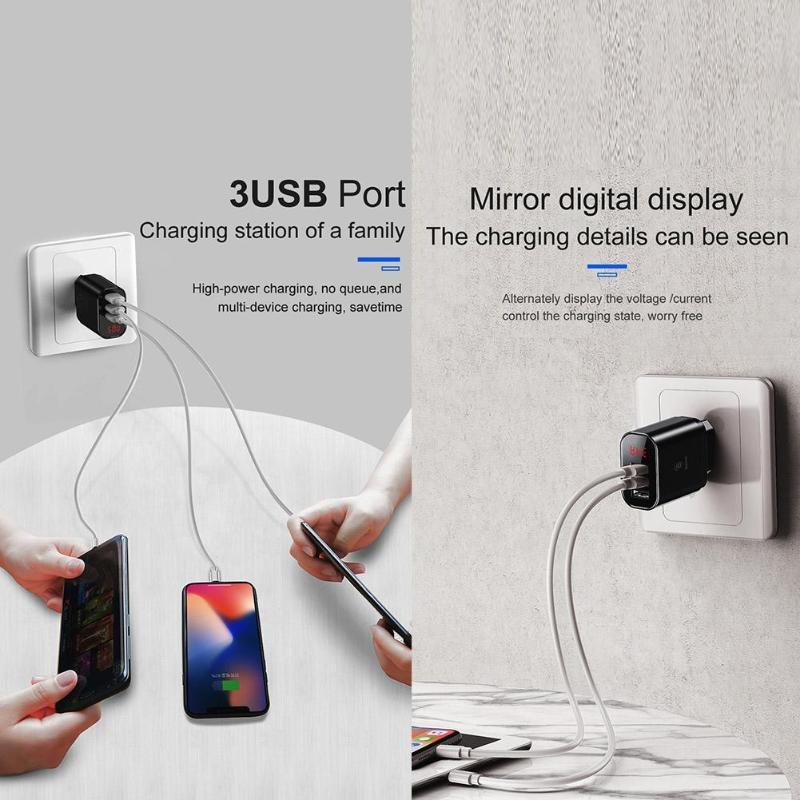 Best Promo #f53b2 Baseus 3 Ports Mobile Phone USB Charger