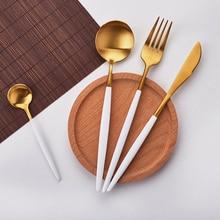 Лидер продаж 4 шт./компл. белое золото Европейский нож посуда 304 Нержавеющаясталь Западной столовый набор для кухни Еда посуда ужин