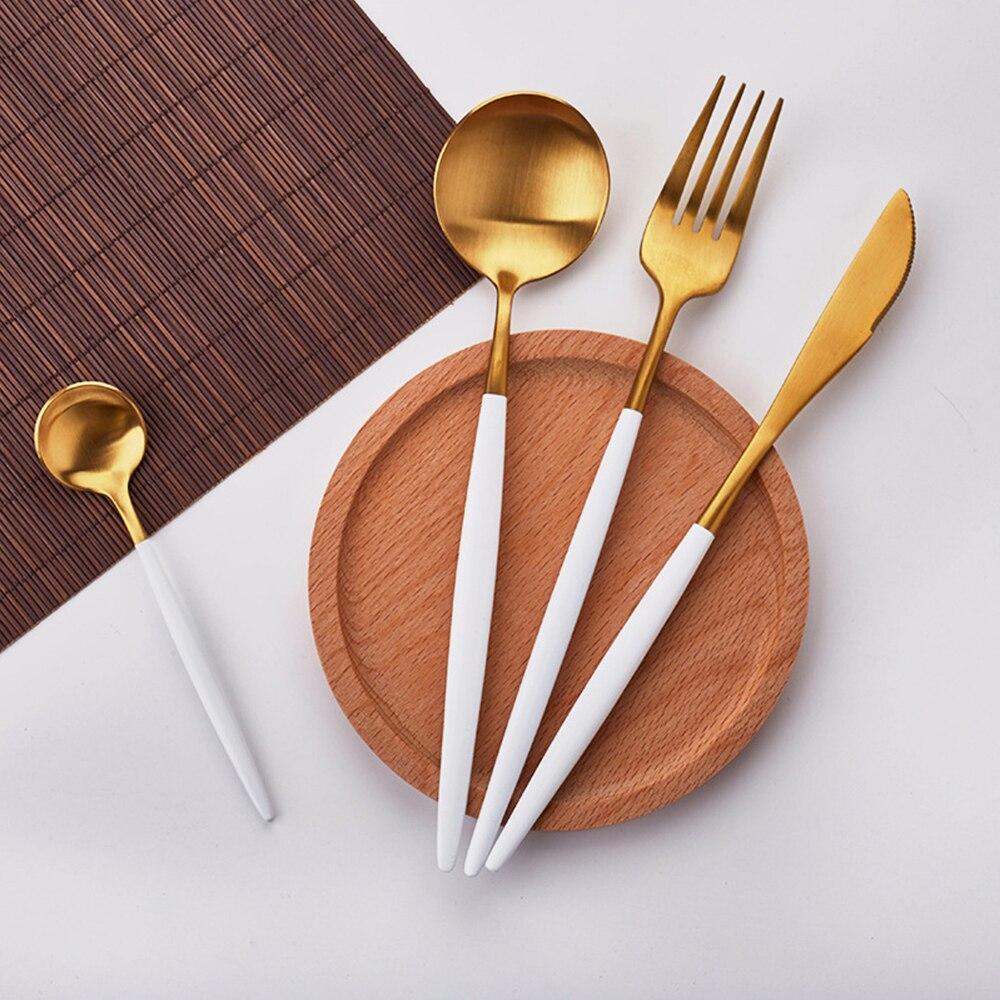 Vente chaude 4 Pcs/ensemble Blanc Or européenne couteau De Vaisselle 304 Couverts En Acier Inoxydable Ensemble de Cuisine Alimentaire Vaisselle Dîner