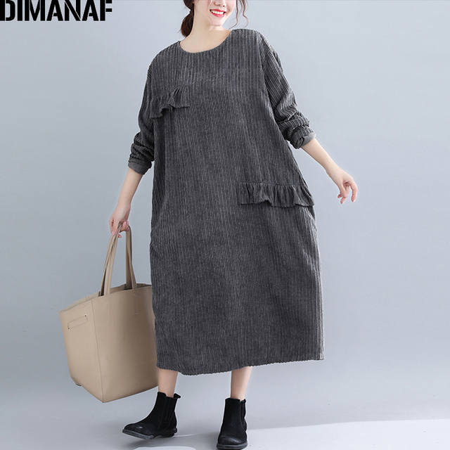 DIMANAF Women Dress Autumn Winter Striped Thicken Knitting Cotton Ruffles Plus Size Female Elegant Lady Vintage Loose Vestidos